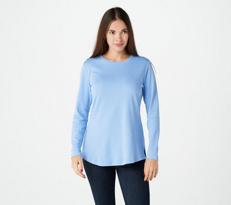 """As Is"" Isaac Mizrahi Live! Essentials Pima Cotton Crew Neck Knit Top"