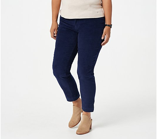 Isaac Mizrahi Live! Petite TRUE DENIM Straight Leg Curduroy Pants