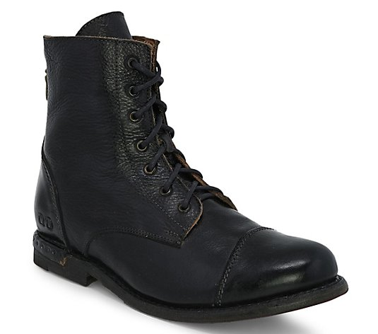 BED STU Leather Lace-Up Combat Boots - Laurel