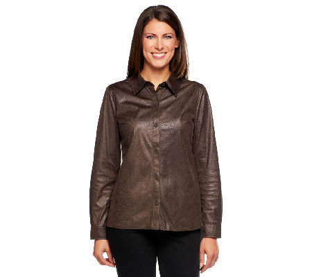Susan Graver Textured Faux Suede Button Front Shirt