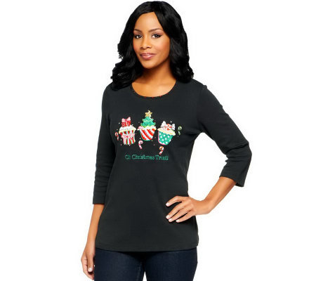 Quacker Factory Oh Christmas Treat Cupcake 3/4 Sleeve T-shirt