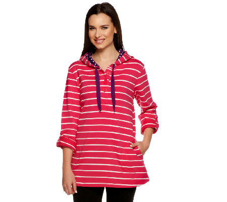 Susan Graver Weekend Striped French Terry Henley Pullover w/Drawstrings