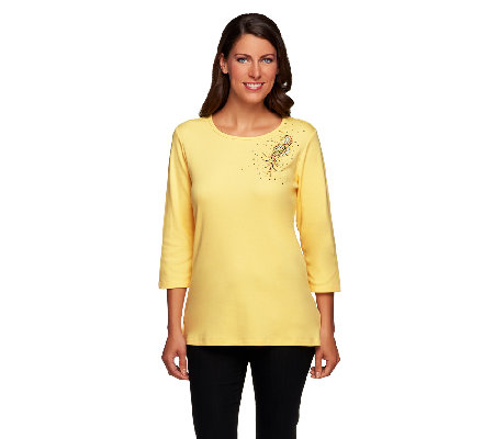 Quacker Factory The Bright Side 3/4 Sleeve T-shirt