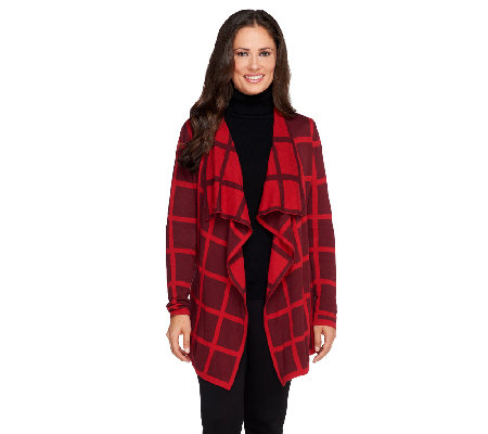 Isaac Mizrahi Live! Window Pane Draped Front Cardigan