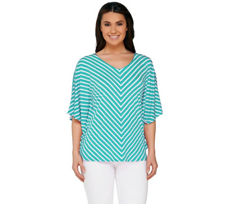 Susan Graver Striped Liquid Knit Reversible Scarf Top