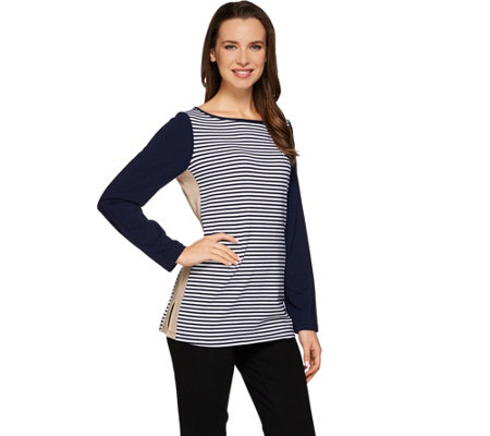 Susan Graver Weekend Striped Stretch Cotton Modal Color Blocked Top