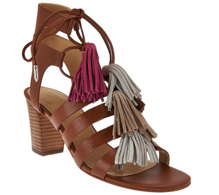Marc Fisher Fringe Leather Lace-up Sandals - Playful