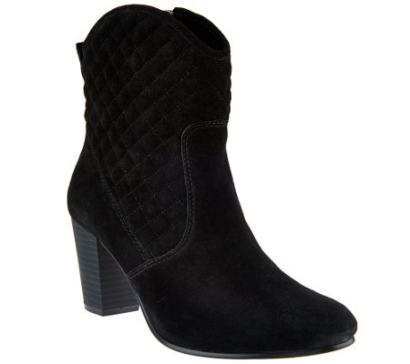 """As Is"" Isaac Mizrahi Live! Suede Quilted Stacked Heel Boots"