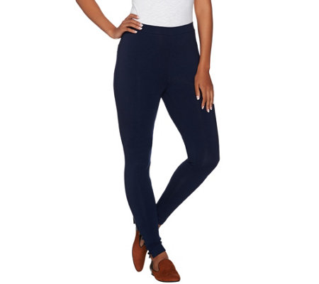 Susan Graver Weekend Stretch Cotton Modal Ankle Leggings w/Button Detail