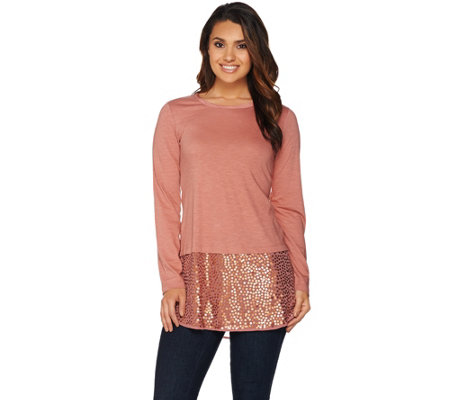 LOGO by Lori Goldstein Knit Top with Sequin Chiffon Hem