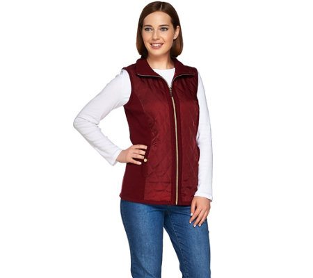 Susan Graver Zip Front Sweater Vest with Quilting Detail