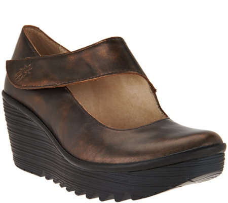 FLY London Leather Wedge Mary Janes - Yasi
