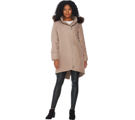 H by Halston Hooded Down Parka with Faux Fur Trim