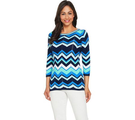 Susan Graver Cotton Rayon Striped Sweater