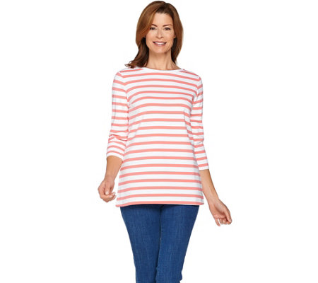 Denim & Co. Active Striped 3/4 Sleeve Round Neck Top