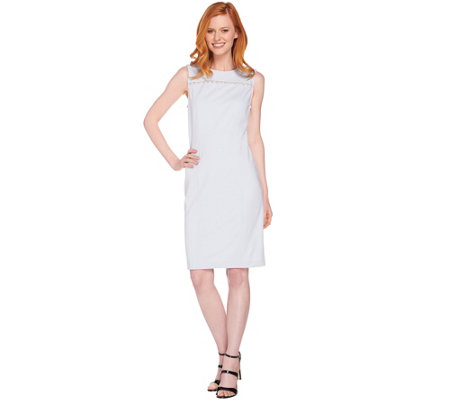 Dennis Basso Caviar Crepe Knit Sleeveless Sheath Dress