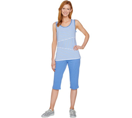 Denim & Co. Active Striped Tank Top and Solid Pedal Pusher Set