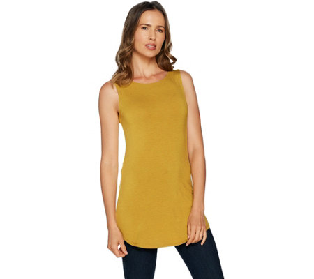 LOGO Layers by Lori Goldstein Heathered Knit Tank with Solid Back