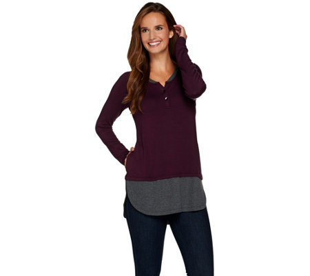 """As Is"" LOGO by Lori Goldstein Henley Knit Top with Shirttail Hem"