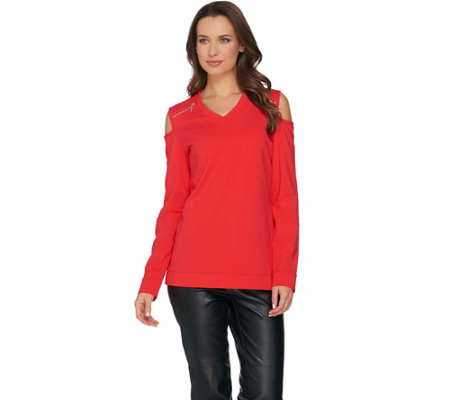 """As Is"" Susan Graver Weekend Stretch Cotton Modal Cold Shoulder Top"