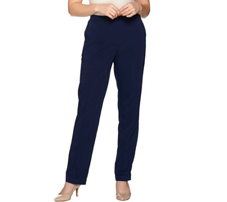 """As Is"" Susan Graver Regular Milano Knit Slim Leg Front Zip Pants"
