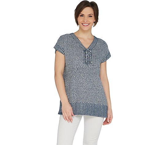 Isaac Mizrahi Live! TRUE DENIM Lace-up Poncho