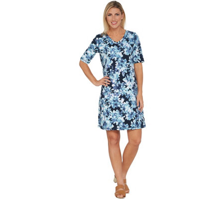 Isaac Mizrahi Live! SOHO Elbow Sleeve Floral Printed T-Shirt Dress