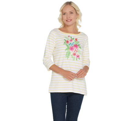 Quacker Factory Striped Tropical Floral Boatneck Knit T-shirt