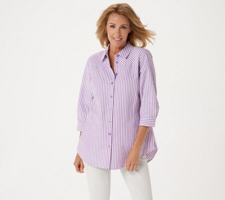 Joan Rivers 3/4 Sleeve Seersucker Shirt w/ Back Button Detail