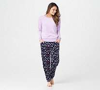 MUK LUKS Silky Velour Long Sleeve Top & Jogger Pant Pajama Set - A343506