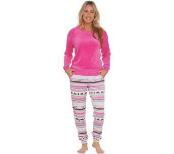 MUK LUKS Silky Velour Long Sleeve Top & Jogger Pant Pajama Set - A343506
