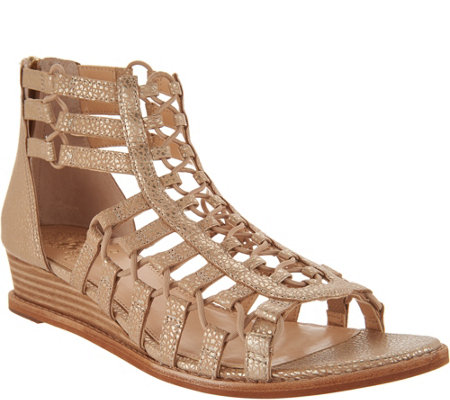 """As Is"" Vince Camuto Leather Gladiator Wedge Sandals- Richetta"