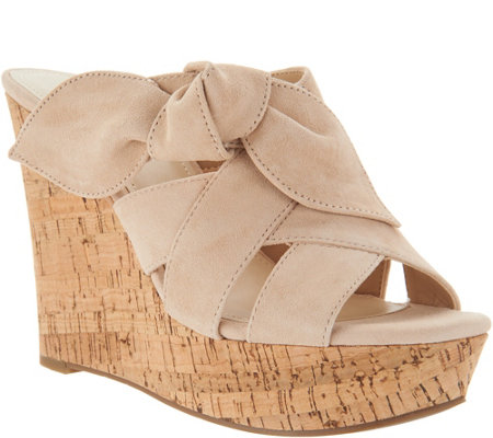 """As Is"" Marc Fisher Suede Bow Wedges- Hobby"