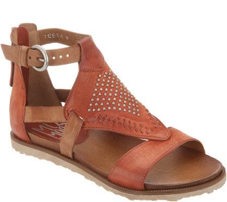 """As Is"" Miz Mooz Leather Cut Out Sandals w/Stud Details- Tessa"