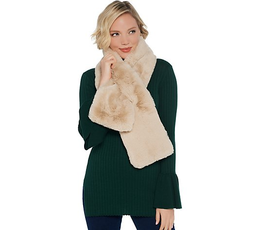 Martha Stewart Faux Fur Pull-Through Stole Scarf