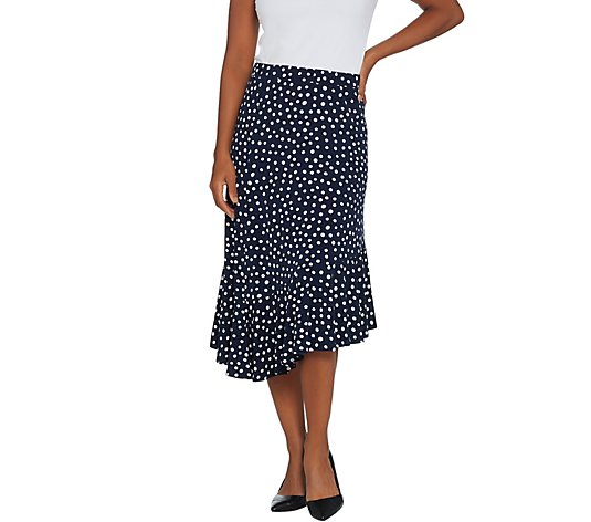 Susan Graver Printed Liquid Knit Asymmetrical Hem Skirt