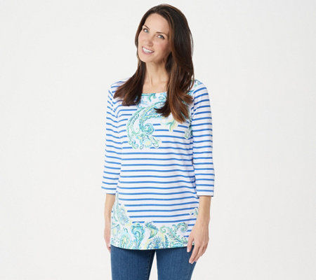 Susan Graver Weekend Printed Stretch Cotton Modal Tunic
