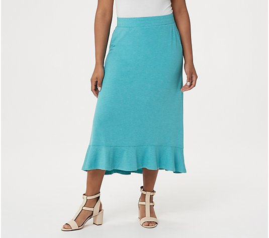 LOGO Lounge by Lori Goldstein Jersey Skirt with Flounce Hem