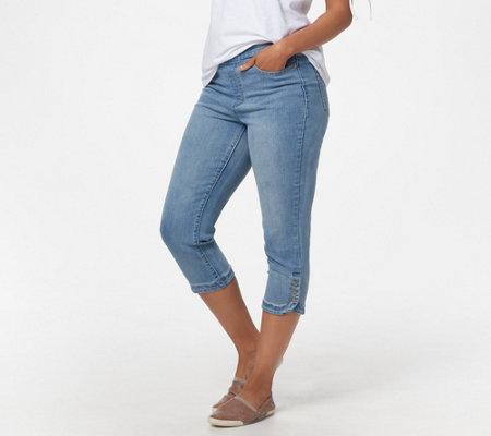 NEW Womens 3//4 Denim Pedal Pushers Shorts Capri Size 8 10 12 14 Blue Pants Short