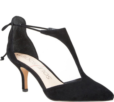 Sole Society T-Strap Suede Pumps - Dree