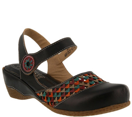 Spring Step L'Artiste Leather Wedge Sandals- Amour