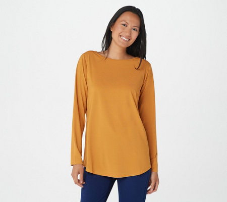 Joan Rivers Long Sleeve Jersey Knit Top with Back Button Detail
