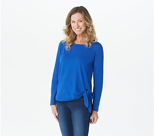 Belle by Kim Gravel TripleLuxe Knit Grommet Side Tie Top