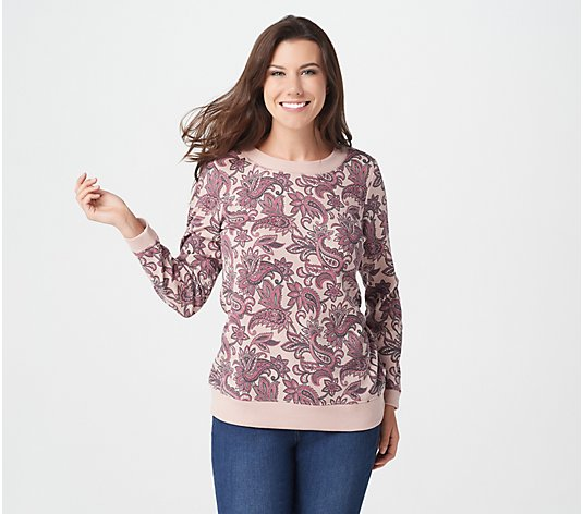Denim & Co. Active Printed Waffle Crew-Neck Long-Sleeve Top