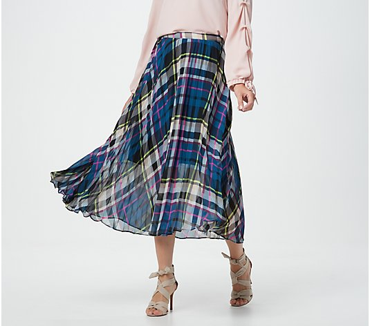 Vince Camuto Plaid Escape Pleated Midi-Skirt