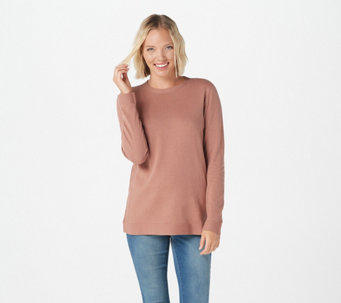 Martha Stewart Crew-Neck Long-Sleeve Sweater with Ribbed Details - A370206