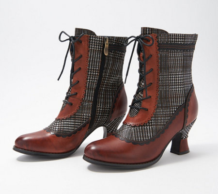 L'Artiste by Spring Step Ankle Boots - Bewitch-Plaid