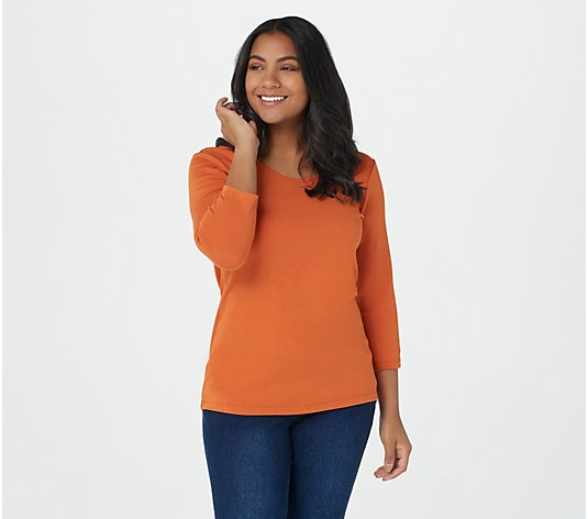 Attitudes by Renee Finespun Jersey Reversible Neckline Top