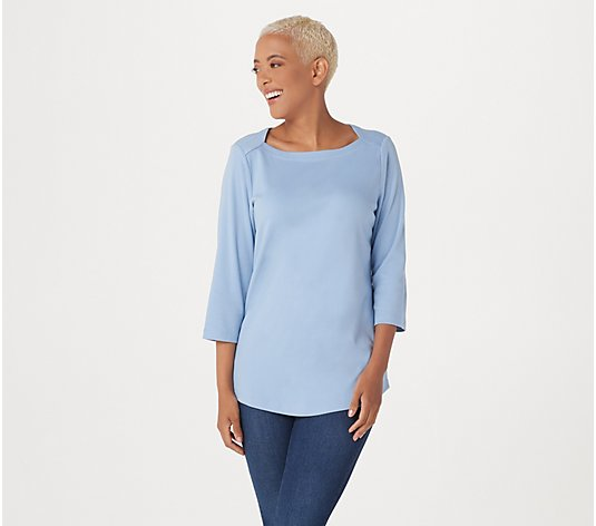 """As Is"" Denim & Co. Essentials Interlock Square-Neck 3/4 Sleeve Top"