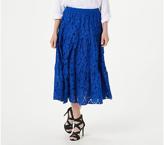 Linea by Louis Dell'Olio Petite Cotton Blend Eyelet Skirt
